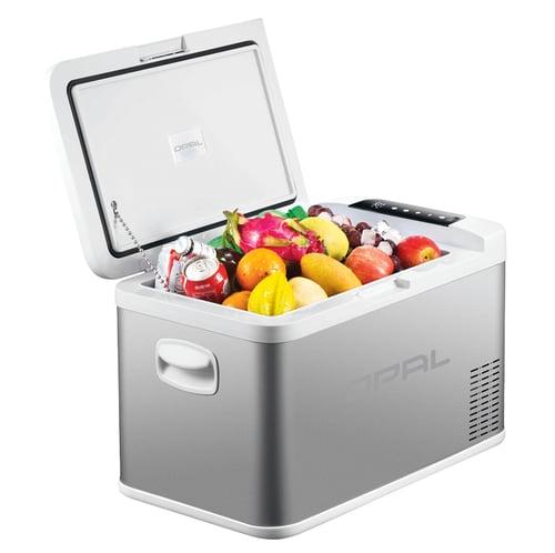 OPAL on sisä- ja ulkokäyttöön tarkoitettu matkajääkaappi, jonka tilavuus on 25litraa. K-Rauta.
